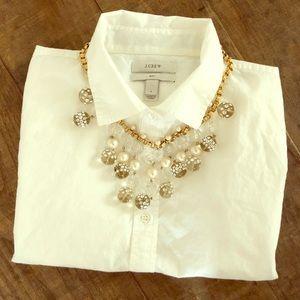 J.CREW Classic White Button Down Shirt - Sz: 4